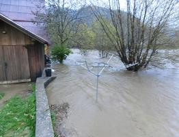 Slika 9: Meža, Otiški vrh - poplava 2012